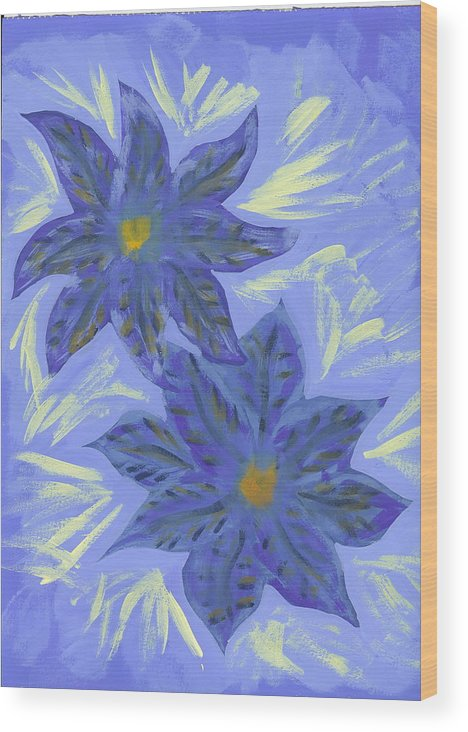 Flower Wood Print featuring the painting Stormy Monday by Laura Lillo