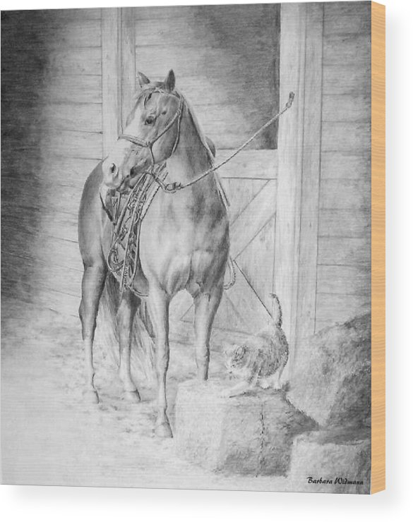 Horse Wood Print featuring the drawing Waiting To Ride by Barbara Widmann