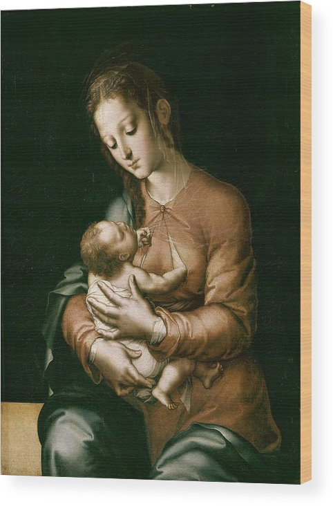 Vertical Wood Print featuring the photograph Morales, Lu�s De 1515-1586. The Virgin by Everett