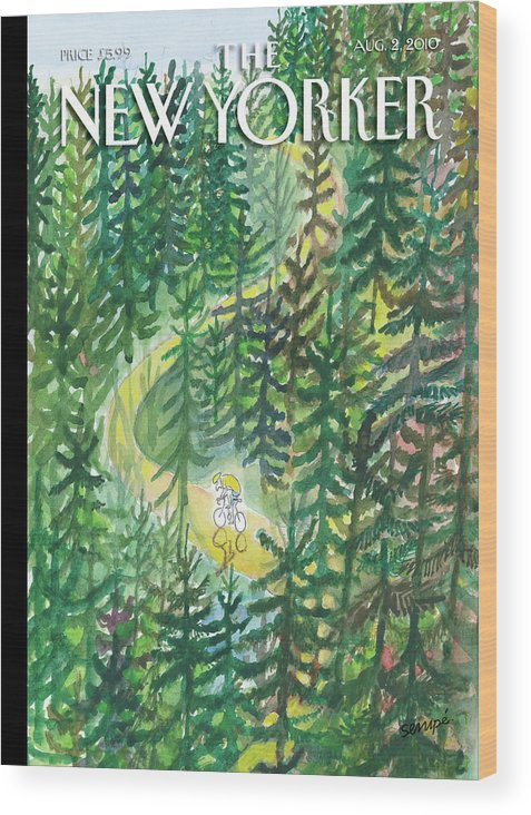 Nature Wood Print featuring the painting New Yorker August 2nd, 2010 by Jean-Jacques Sempe