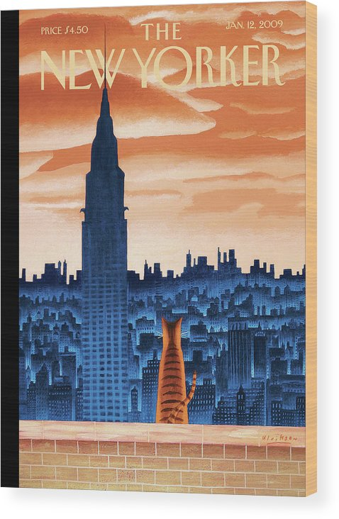 Nyc Wood Print featuring the painting New Yorker January 12th, 2009 by Mark Ulriksen