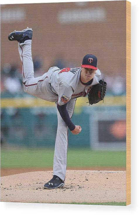 American League Baseball Wood Print featuring the photograph Minnesota Twins V Detroit Tigers 14 by Leon Halip
