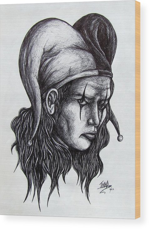 The Jester Wood Print featuring the drawing The Jester by Michael TMAD Finney