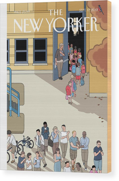 School Wood Print featuring the painting New Yorker September 17th, 2012 by Chris Ware