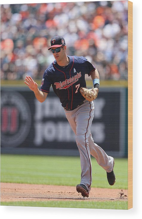 Joe Mauer Wood Print featuring the photograph Minnesota Twins V Detroit Tigers 9 by Leon Halip
