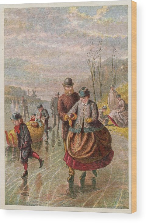 Ice Wood Print featuring the drawing A Gentleman Helps A Lady Skate by Mary Evans Picture Library