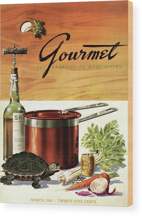 Illustration Wood Print featuring the photograph A Gourmet Cover Of Turtle Soup Ingredients by Henry Stahlhut