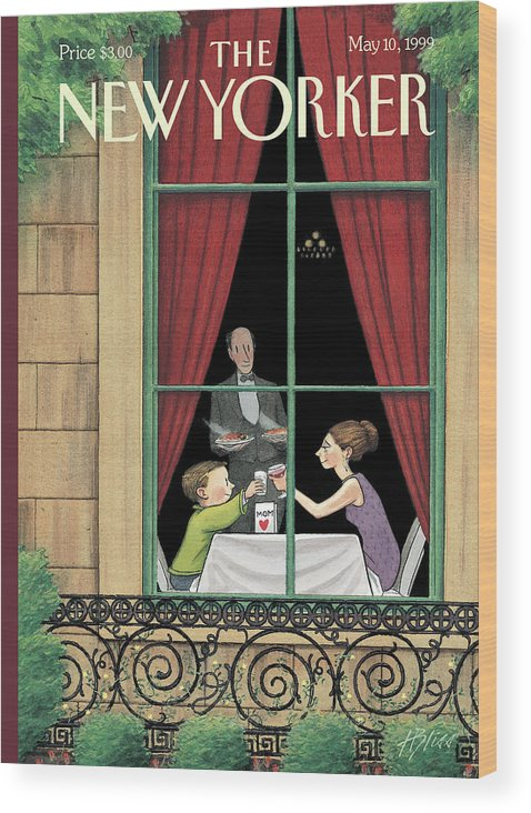 Here's To You Wood Print featuring the painting A Mother And Son Enjoy A Meal Together by Harry Bliss