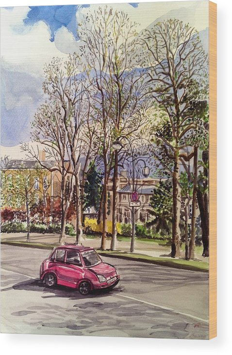Cars Wood Print featuring the painting Afternoon Ride by Aditi Bhatt