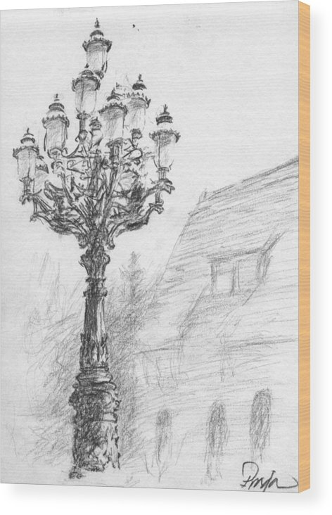 Charcoal Wood Print featuring the drawing Antique Lampost by Horacio Prada