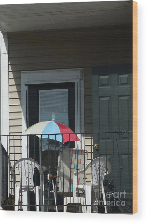 Summertime Wood Print featuring the mixed media At The Beach In City by Bruce Tubman