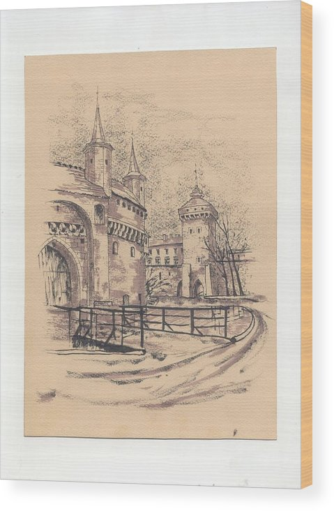 Monument Wood Print featuring the drawing Barbakan Cracow by Monika Golebiowska