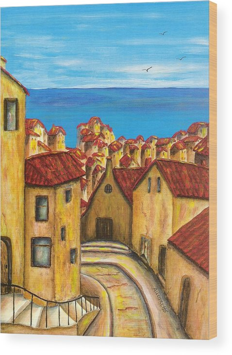 Pamela Allegretto Wood Print featuring the painting Biagi In Tuscany by Pamela Allegretto