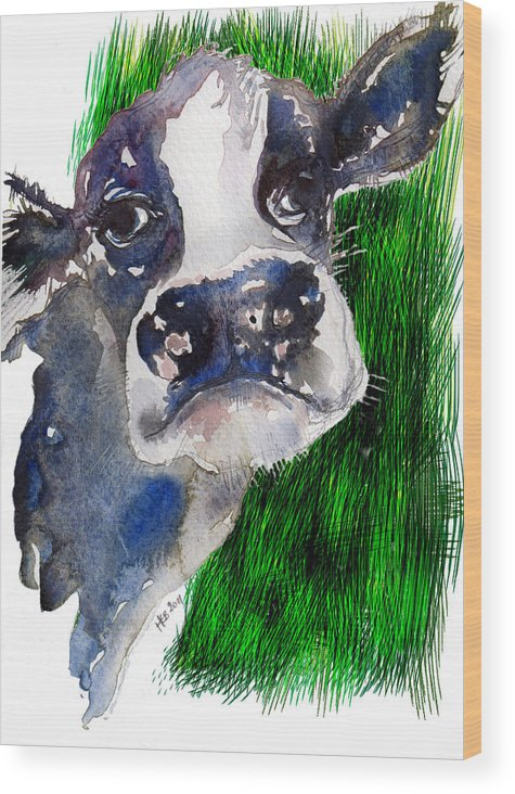 Cow Wood Print featuring the mixed media Blue Moo by Helen Bennett