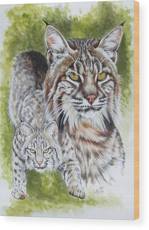 Small Cat Wood Print featuring the mixed media Brassy by Barbara Keith