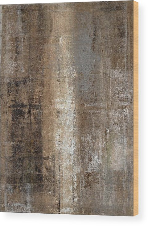 Brown Wood Print featuring the painting Slender - Grey And Brown Abstract Art Painting by CarolLynn Tice