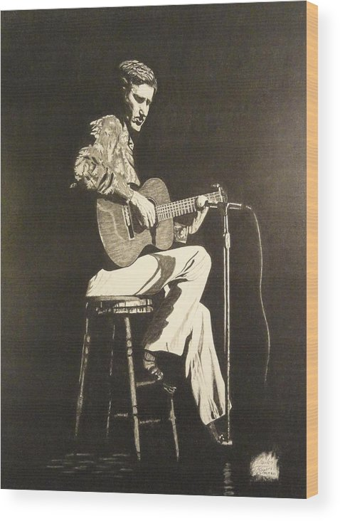Chet Adkins Wood Print featuring the drawing Chet Adkins 1975 by Charles Rogers