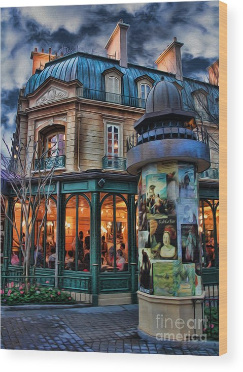 Belle Soiree Au Cafe Wood Print featuring the photograph Coffeehouse - Belle Soiree Au Cafe II by Lee Dos Santos