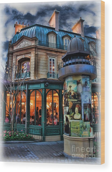 Belle Soiree Au Cafe Wood Print featuring the photograph Coffeehouse - Belle Soiree Au Cafe by Lee Dos Santos