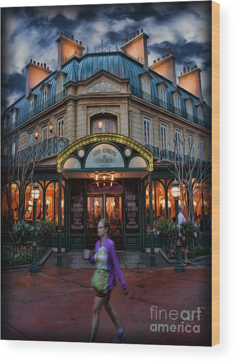 Cafe Francais Wood Print featuring the photograph Coffeehouse - The Sidewalk Cafe by Lee Dos Santos