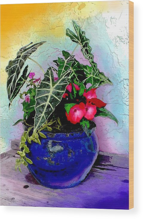 Potted Wood Print featuring the painting Color Explosion by Peni Baker