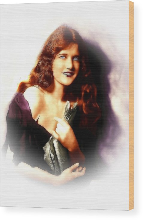 Constance Binney American Actress Dancer Female Girl Woman Sexy Beauty Face Portrait Erotic Movie Silent Painting Vintage Wood Print featuring the painting Constance Binney by Steve K