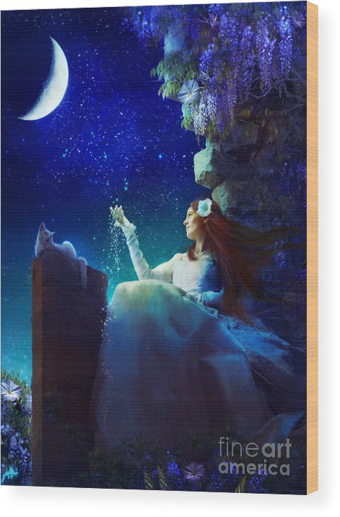 Aimee Stewart Wood Print featuring the digital art Conversation With The Moon by Aimee Stewart