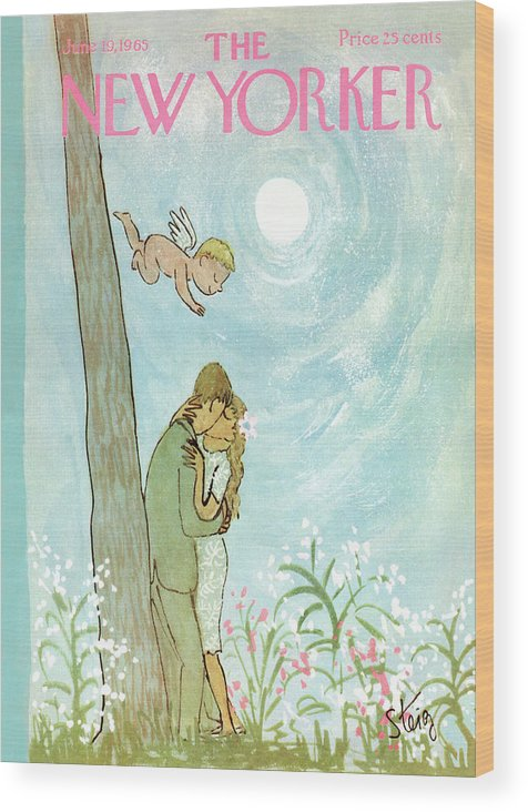 Kiss Wood Print featuring the painting Cupid Coupling by William Steig