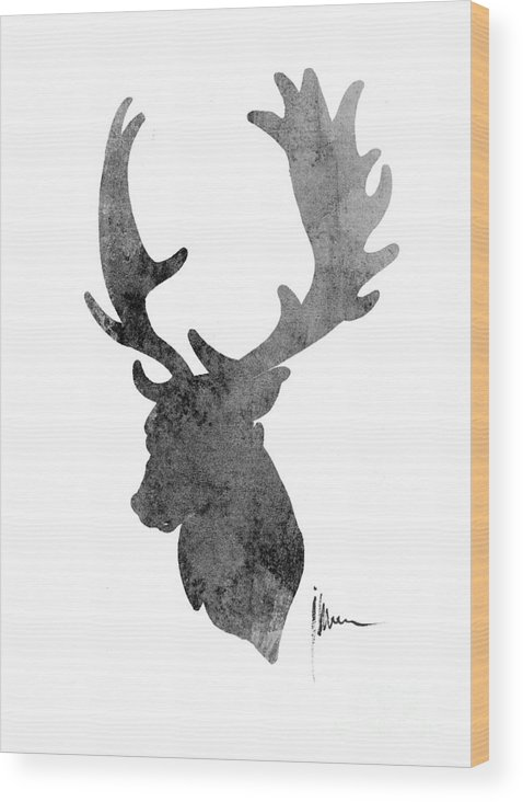 Deer Wood Print featuring the painting Deer Head Art Print Watercolor Painting by Joanna Szmerdt
