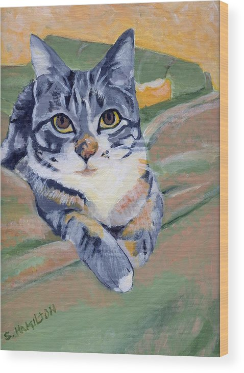 Cat Paintings Wood Print featuring the painting Ellie by Sarah Hamilton