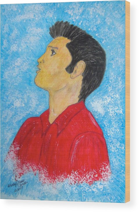 Elvis Presely Wood Print featuring the painting Elvis Presley Singing by Kathy Marrs Chandler