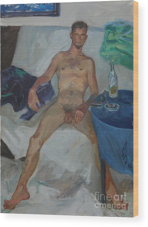 Man Wood Print featuring the painting Etude 44 by Sergey Sovkov
