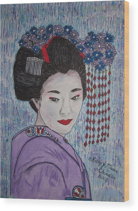 Oriental Wood Print featuring the painting Geisha Girl by Kathy Marrs Chandler