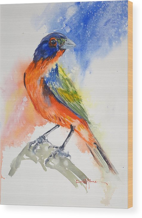 Bird Wood Print featuring the painting Da188 Glow Of The Painted Bunting Daniel Adams by Daniel Adams
