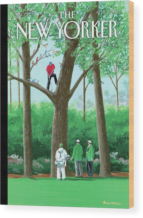 Golf Wood Print featuring the painting Golfer Making A Shot In A Tree While Different by Bruce McCall