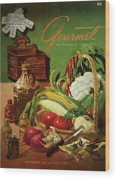Food Wood Print featuring the photograph Gourmet Cover Featuring A Variety Of Vegetables by Henry Stahlhut