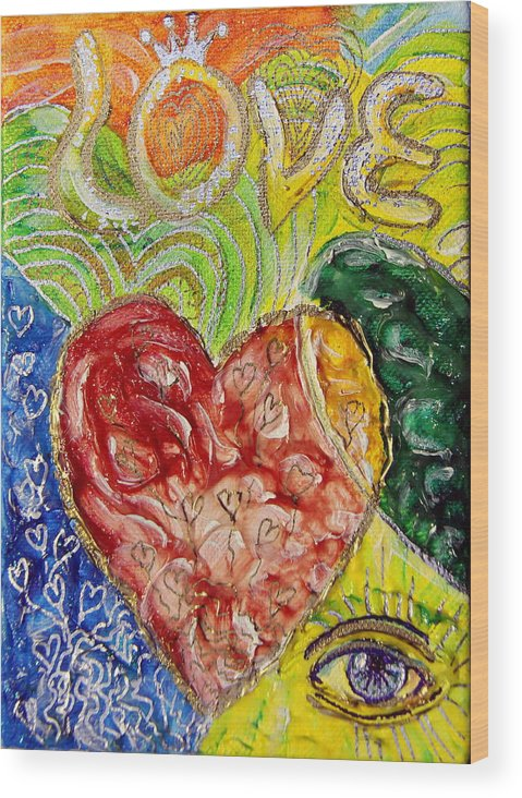 Wood Print featuring the painting Heart To Heart G by Gideon Cohn