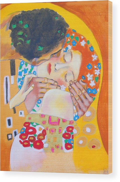 Klimt Wood Print featuring the painting Homage To Master Klimt The Kiss by Susi Franco