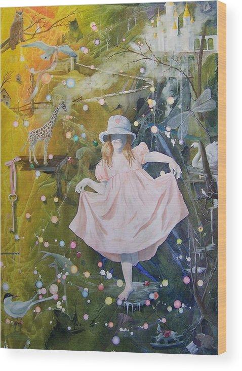 Girl Wood Print featuring the painting I Met A Giraffe by Jackie Mueller-Jones