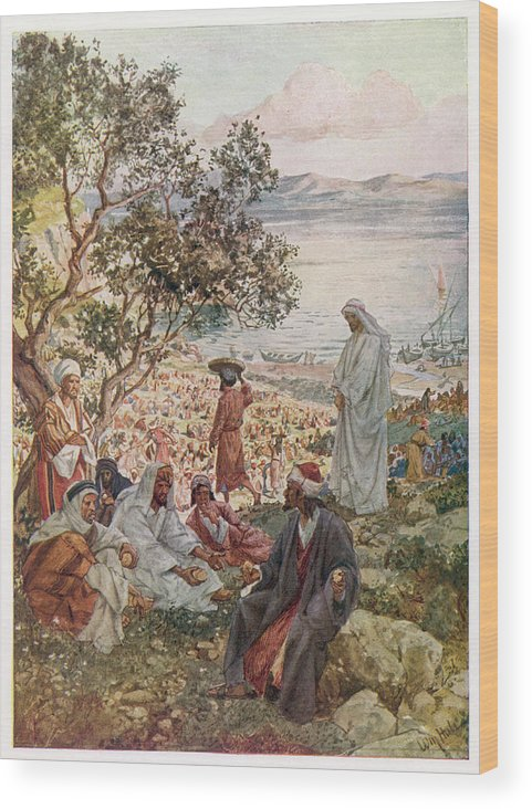 Jesus Wood Print featuring the drawing Jesus Feeds Five Thousand People by Mary Evans Picture Library