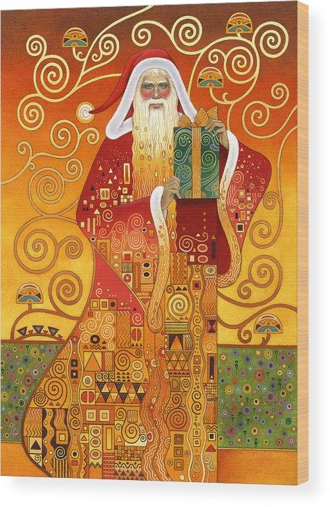 Carol Lawson Wood Print featuring the painting Klimt Santa by Carol Lawson