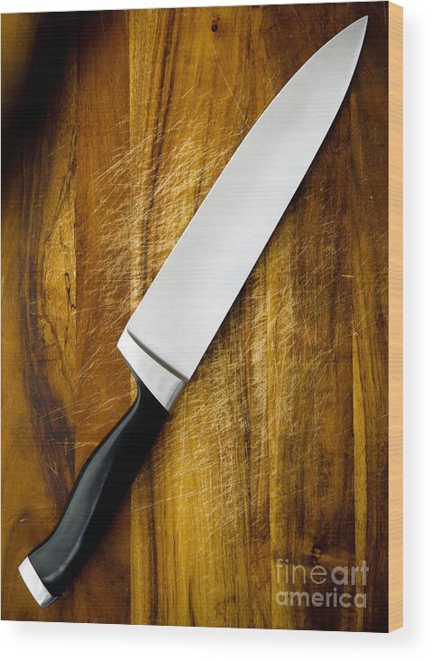 Blade Wood Print featuring the photograph Knife On Chopping Board by Tim Hester