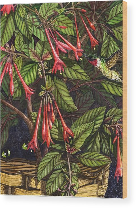 Fuchsia Wood Print featuring the painting Lurking by Catherine G McElroy