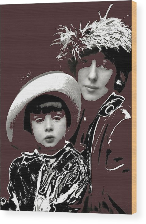Mrs. Evelyn Nesbit Thaw And Son Arnold Genthe Photo New York 1913 Wood Print featuring the photograph Mrs. Evelyn Nesbit Thaw And Son Arnold Genthe Photo New York 1913-2014 by David Lee Guss