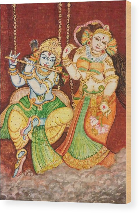 Divine Love Wood Print featuring the painting My Dear One by Lavanya Venkatesh