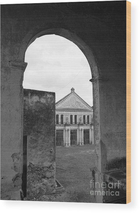 Mexico Wood Print featuring the photograph Neoclassical Storehouse And Arch Yaxcopoil Mexico by John Mitchell