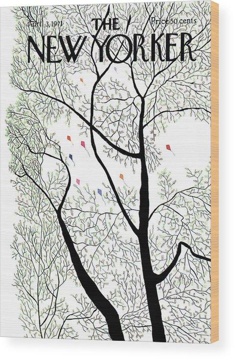 Raymond Davidson Rdv Wood Print featuring the painting New Yorker April 3rd, 1971 by Raymond Davidson