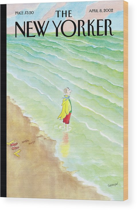 (a Man Wood Print featuring the painting New Yorker April 8th, 2002 by Jean-Jacques Sempe