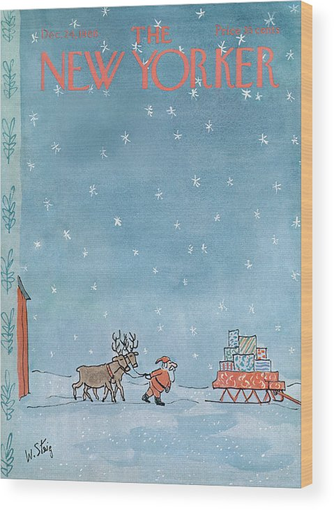 William Steig Wst Santa Claus Chris Kris Kringle Saint St Nick Christmas Xmas Holiday Reindeer Deer Sled Sleigh Snow Snowing Eve Present Presents Gift Gifts Toy Toys Sumnerok William Steig Wst Artkey 49920 Wood Print featuring the painting New Yorker December 24th, 1966 by William Steig
