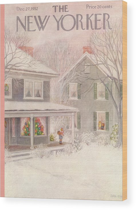 Suburb Country Outdoors Community Town Small Suburban Quaint Village House Home Property Lawn Yard Christmas Xmas Holiday Wood Print featuring the painting New Yorker December 27th, 1952 by Edna Eicke